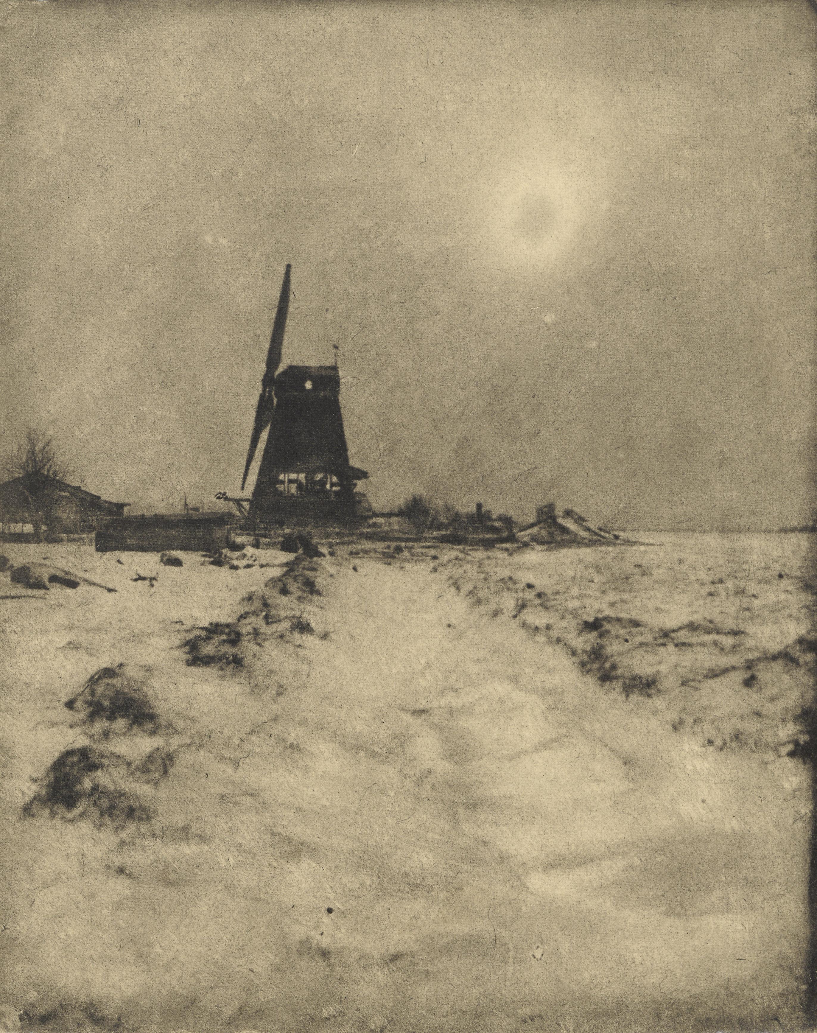Molen in besneeuwd landschap © J.F.J. Huijsser, ca. 1920
